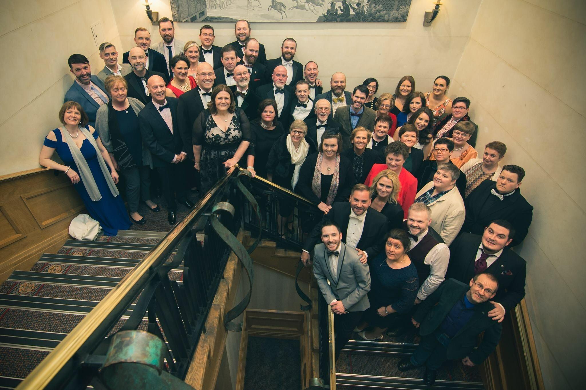 choir on staircase