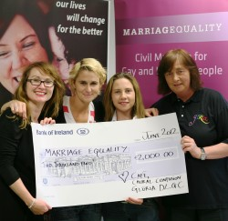 True Colours concert presentation of cheque to Marriage Equality